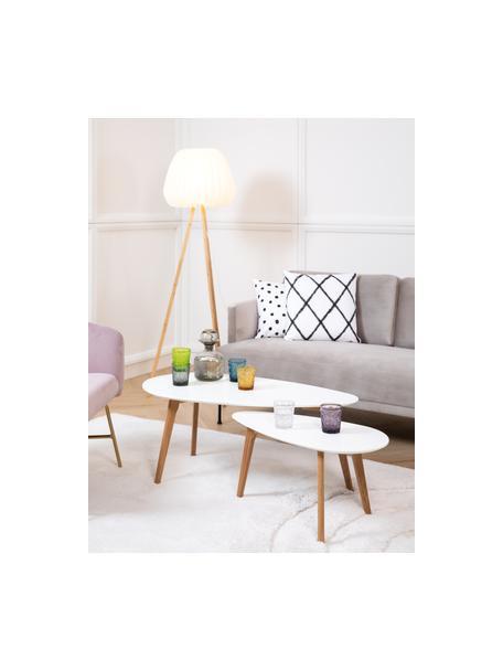 Set de mesas de centro Nordic, 2uds., estilo escandinavo, Tablero: fibras de densidad media, Patas: madera de roble maciza, Blanco, roble, Set de diferentes tamaños