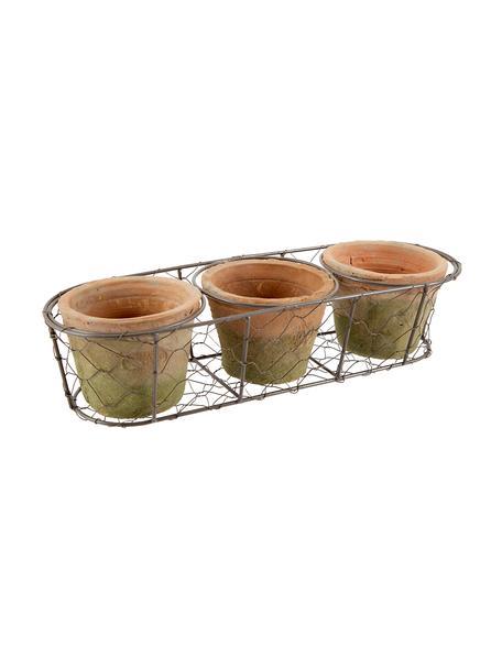 Set de macetas grandes Daria, 4pzas., Cesta: metal, Terracota, marrón, An 37x Al 9 cm