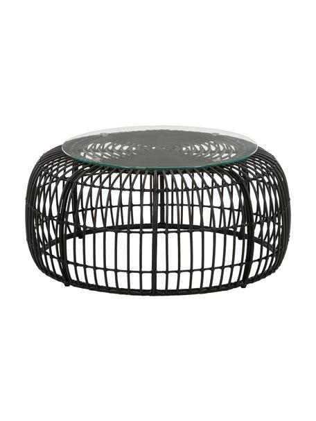 Mesa de centro de mimbre Costa, Tablero: vidrio, espesor 5mm, Estructura: trenzado de polietireno, Negro, Ø 85 x Al 42 cm