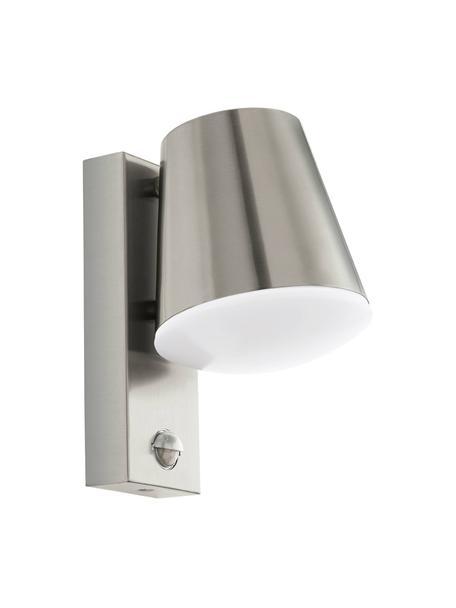 Outdoor wandlamp Caldiero met bewegingssensor, Lampenkap: edelstaal, Diffuser: kunststof, Edelstaalkleurig, 14 x 24 cm