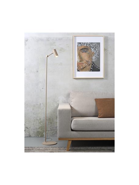 Kleine leeslamp Montreux in zandkleur, Lampenkap: gecoat metaal, Lampvoet: gecoat metaal, Zandkleurig, 22 x 134 cm