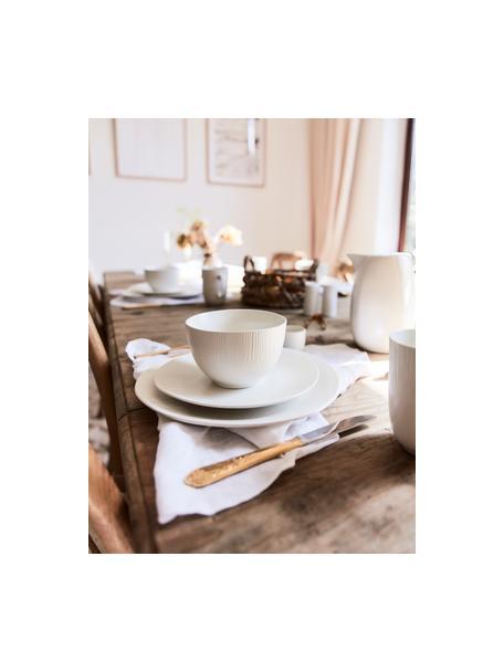 Handgemaakte kommen Sandvig met lichte groef reliëf, 4 stuks, Gekleurde porselein, Gebroken wit, Ø 14 x H 8 cm