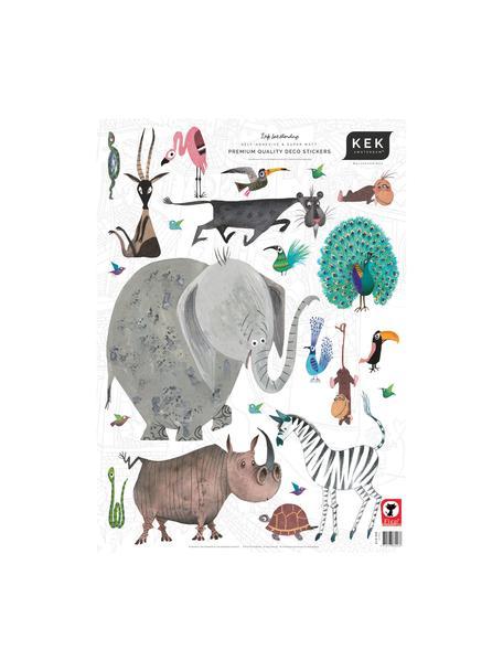 Set de pegatinas para pared Animals, 23pzas., Lámina de vinilo autoadhesiva mate, Multicolor, An 42 x Al 59 cm