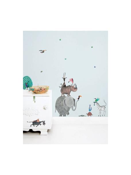 Set 23 adesivi murali Animals, Film vinilico autoadesivo, opaco, Multicolore, Larg. 42 x Alt. 59 cm