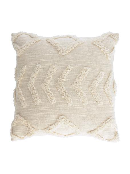 Kussenhoes Xayoxhira met getuft hoog-laag patroon, 100% katoen, Beige, 45 x 45 cm