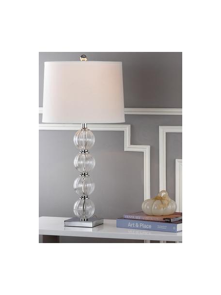 Grote tafellampen Luisa, 2 stuks, Lampenkap: polyester, Lampvoet: glas, Voetstuk: metaal, Lampenkap: wit. Lampvoet: transparant, Ø 38 x H 76 cm