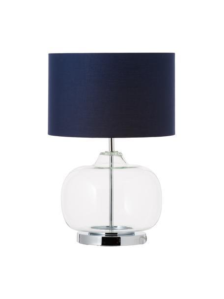 Tafellamp Amelia van transparant glas, Lampvoet: glas, Lampenkap: katoen, Voetstuk: verchroomd metaal, Donkerblauw, Ø 28 x H 41 cm