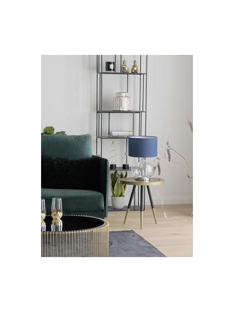 Lámpara de mesa de vidrio Amelia, Pantalla: algodón, Azul oscuro, ∅ 28 x Al 41 cm