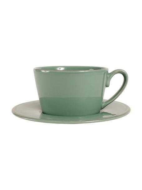 Tazza da tè con piattino stile country Constance, Gres, Verde, Ø 19 x Alt. 8 cm