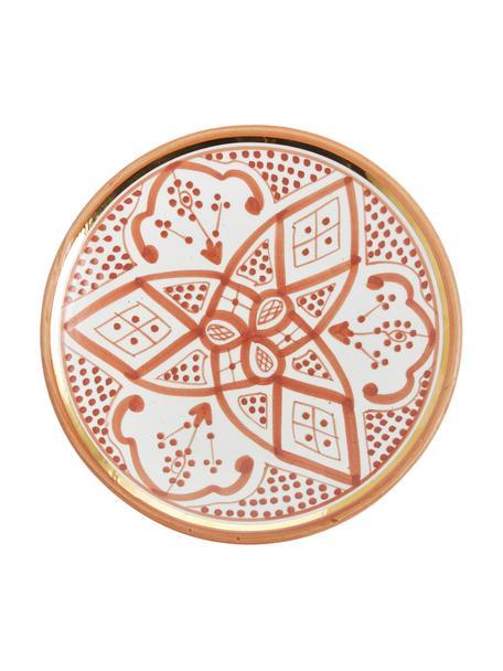 Plato postre artesanal Assiette, estilo marroquí, Cerámica, Naranja, crema, oro, Ø 20 cm