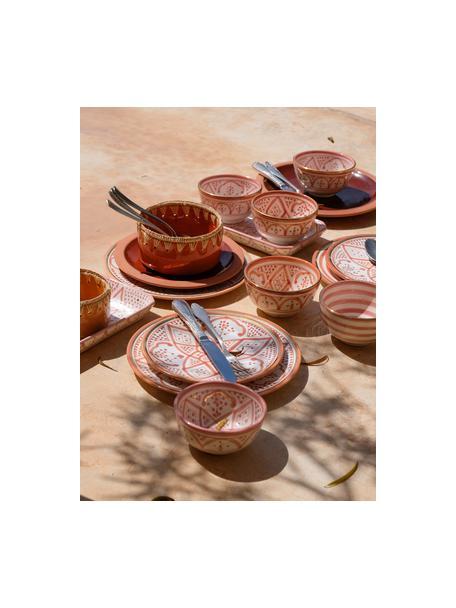 Piattino da dessert fatto a mano stile marocchino con bordo oro Assiette, Ceramica, Arancione, crema, oro, Ø 20 cm