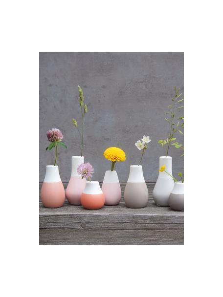 Set de jarrones pequeños de gres Pastell, 3uds., Gres con glaseado, Tonos rosas, blanco, Set de diferentes tamaños