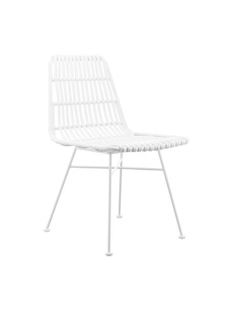 Polyrotan stoelen Costa, 2 stuks, Zitvlak: polyethyleen-vlechtwerk, Frame: gepoedercoat metaal, Zitvlak: wit. Frame: mat wit, 47 x 61 cm