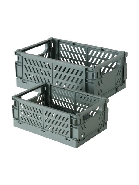 Aufbewahrungsboxen-Set Malmo, 2-tlg., Kunststoff, recycelt, Grau, Set mit verschiedenen Größen