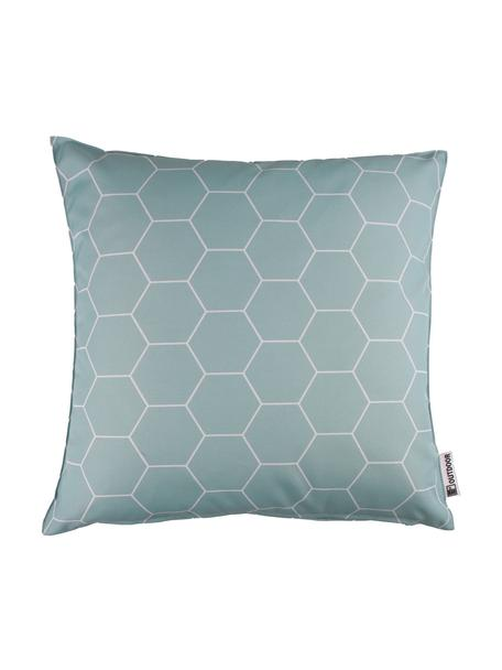 Cuscino da esterno fantasia Honeycomb, 100% poliestere, Blu, bianco, Larg. 47 x Lung. 47 cm