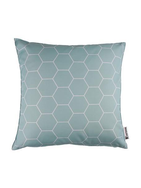 Gemustertes Outdoor-Kissen Honeycomb, 100% Polyester, Blau, Weiss, 47 x 47 cm