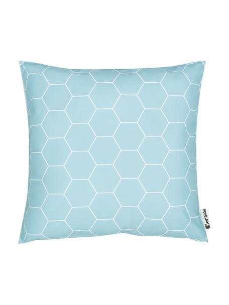 Outdoor kussen met patroon Honeycomb, 100% polyester, Blauw, wit, 47 x 47 cm