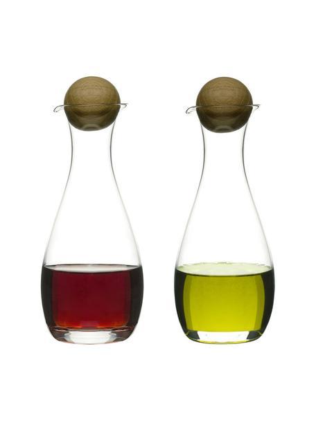 Mundgeblasene Essig- und Öl-Spender Eden mit Holzdeckel, 2er-Set, Behälter: Mundgeblasenes Glas, Verschluss: Eichenholz, Transparent, Eichenholz, Ø 8 x H 19 cm