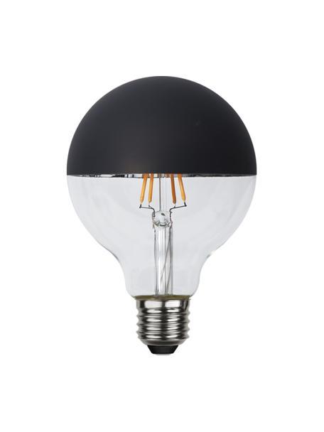 Bombilla regulable E27, 260lm, blanco cálido, 1ud., Ampolla: vidrio, Casquillo: aluminio, Negro, transparente, Ø 10 x Al 14 cm