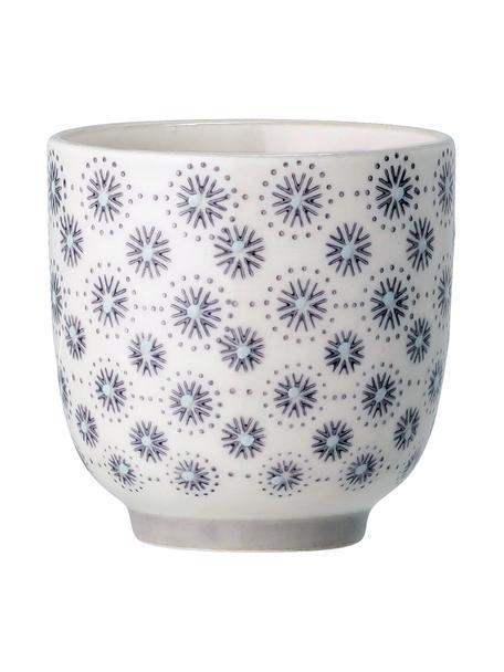 Tazza senza manico in gres con motivo floreale Elsa 4 pz, Gres, Grigio, color crema, Ø 7 x Alt. 7 cm