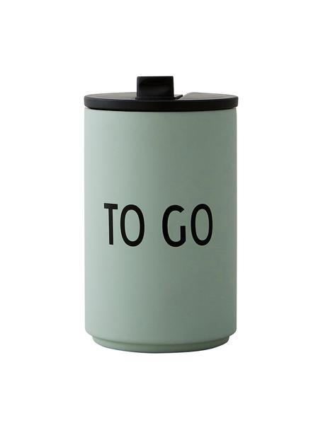 Design coffee-to-go-beker Favourite TO GO met opschrift, Gecoat edelstaal, Grijsgroen, zwart, Ø 8 x H 13 cm