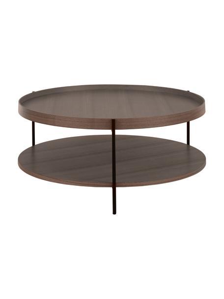 Tavolino da salotto con piano d'appoggio Renee, Ripiani: pannello di fibra a media, Struttura: metallo verniciato a polv, Legno di noce, Ø 90 x Alt. 39 cm