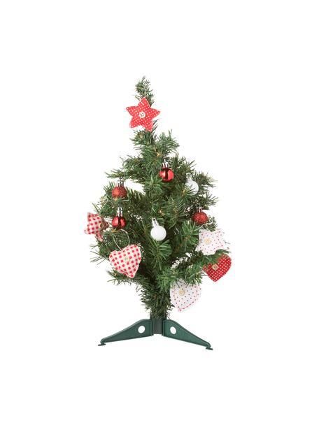 Decoratieve hangersset violet, 27-delig, Mini boom met decoratie, Rood, wit, zilverkleurig, H 60 cm