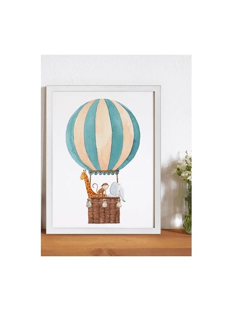 Stampa digitale incorniciata Balloon with Animals, Immagine: stampa digitale su carta,, Cornice: legno verniciato, Bianco, multicolore, Larg. 33 x Alt. 43 cm
