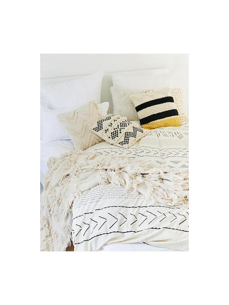 Boho kussenhoes Paco met decoratie, 80% katoen, 20% wol, Ecru, zwart, 45 x 45 cm