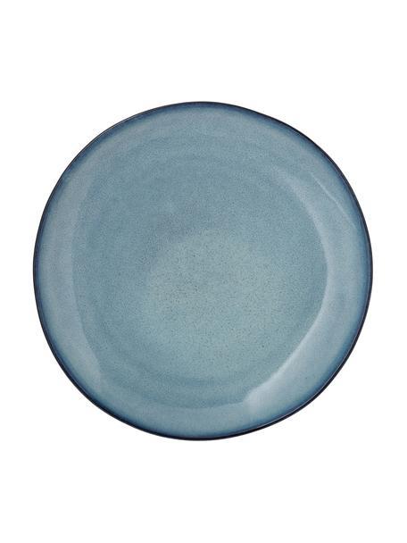 Piatto piano fatto a mano blu Sandrine, Terracotta, Tonalità blu, Ø 29 x Alt. 3 cm