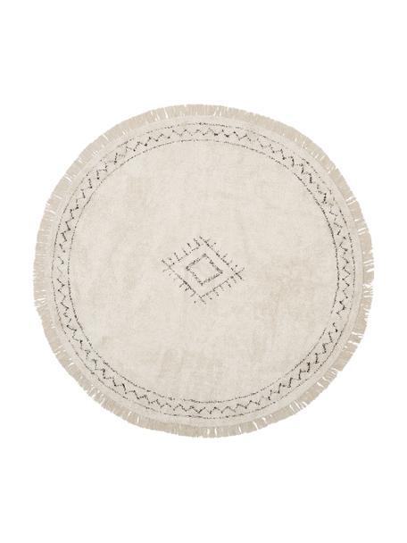 Runder Boho-Baumwollteppich Frame mit Fransen, handgetuftet, 100% Baumwolle, Beige, Schwarz, Ø 120 cm (Grösse S)