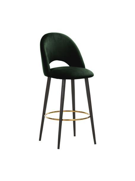 Sedia da bar in velluto verde scuro Rachel, Rivestimento: velluto (rivestimento in , Gambe: metallo verniciato a polv, Velluto verde scuro, Larg