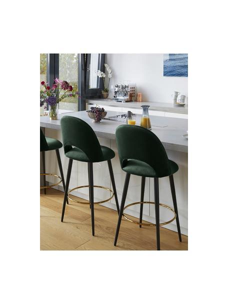 Krzesło barowe z aksamitu Rachel, Tapicerka: aksamit (poliester) 5000, Nogi: metal malowany proszkowo , Aksamitny ciemny zielony, S 48 x W 110 cm