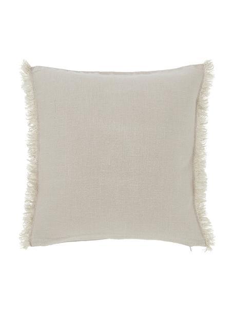 Linnen kussenhoes Luana in beige met franjes, 100% linnen, Beige, 40 x 40 cm