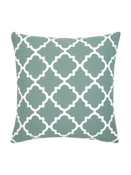 Federa arredo verde salvia con motivo grafico Lana, 100% cotone, Verde salvia, bianco, Larg. 45 x Lung. 45 cm