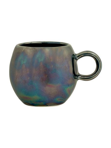 Handgemachte Tasse Paula mit effektvoller Glasur, Steingut, Blautöne, Grün, Ø 9 x H 8 cm