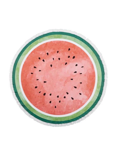 Toalla de playa redonda Melon, 55%poliéster, 45%algodón Gramaje ligero 340g/m², Verde oscuro, verde claro, rojo, blanco, Ø 150 cm