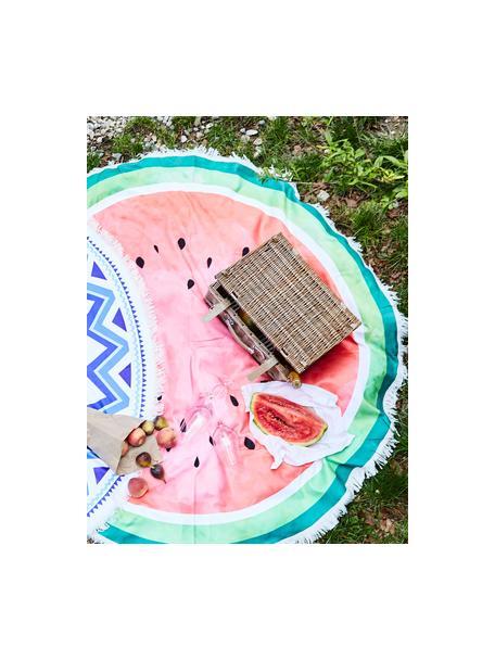 Ręcznik plażowy okrągły Melon, 55% poliester, 45% bawełna Bardzo niska gramatura 340 g/m², Ciemny zielony, jasny zielony, czerwony, Ø 150 cm