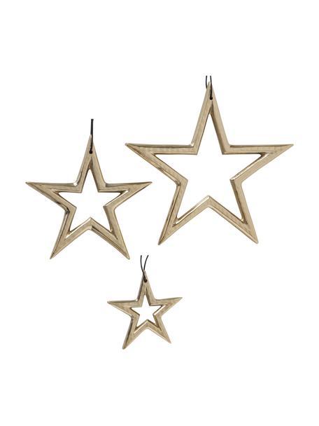 Komplet gwiazd wiszących Taumi, 3 elem., Aluminium, Odcienie złotego, Komplet z różnymi rozmiarami