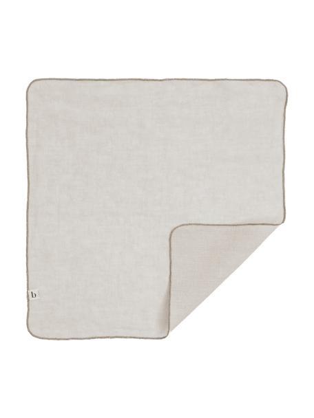 Leinen-Servietten Gracie in Hellgrau, 2 Stück, 100% Leinen, Grau, 45 x 45 cm