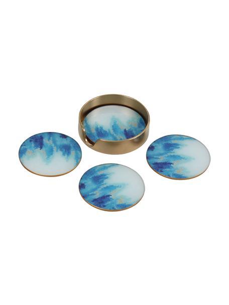 Glas onderzetter Stardust in aquarellook, 4 stuks, Houder: gecoat metaal, Blauw, wit, Ø 11 cm