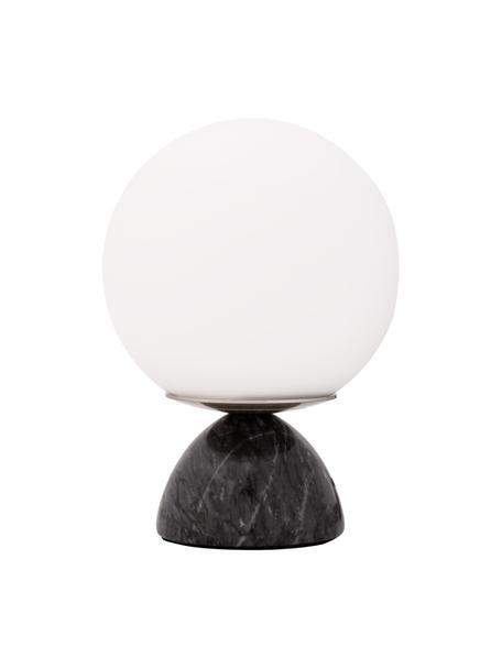Kleine Tischlampe Shining Pearl mit Marmorfuß, Lampenschirm: Opalglas, Lampenfuß: Marmor, Schwarz, Weiß, Ø 15 x H 21 cm