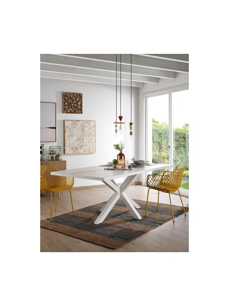 Esstisch New-Arya in Weiß, Tischplatte: Mitteldichte Holzfaserpla, Gestell: Metall, lackiert, Weiß, 160 x 78 cm