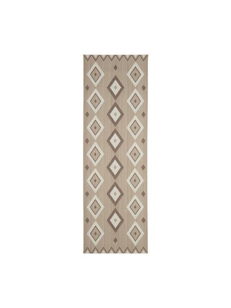 Boho in- & outdoor vloerkleed Nikita, 86% polypropyleen, 14% polyester, Beige, wit, 80 x 250 cm