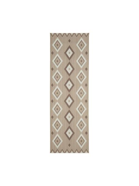 Chodnik wewnętrzny/zewnętrzny w stylu etno Nikita, 86% polipropylen, 14% poliester, Beżowy, biały, S 80 x D 250 cm