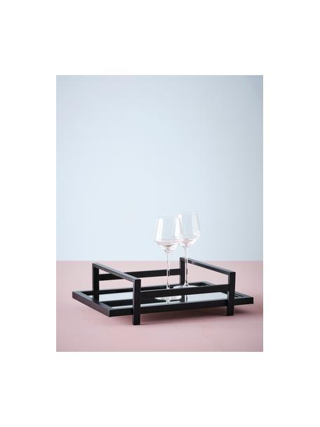 Decoratief dienblad Alvy, Frame: gecoat metaal, Plank: spiegelglas, Zwart, 46 x 13 cm