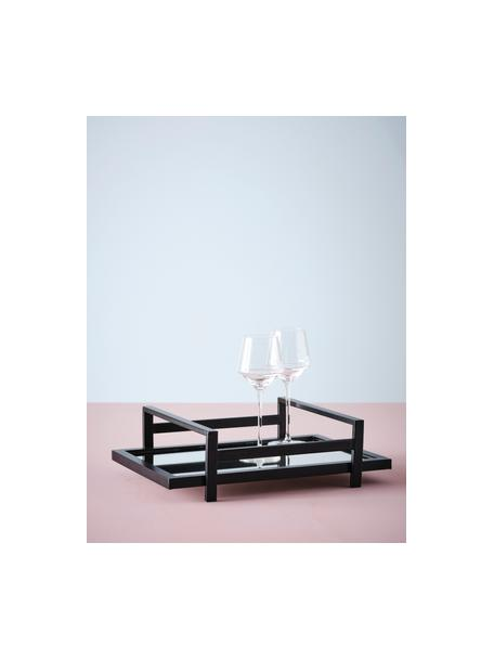 Deko-Tablett Alvy, Rahmen: Metall, beschichtet, Ablagefläche: Spiegelglas, Schwarz, 46 x 13 cm