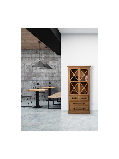 Vitrina de madera de abeto Genni, Estructura: madera de abeto, madera c, Marrón, An 75 x Al 155 cm