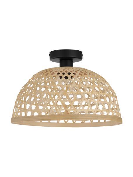 Plafondlamp Claverdon van bamboehout, Lampenkap: bamboe, Baldakijn: gelakt metaal, Lichtbruin, Ø 37 cm