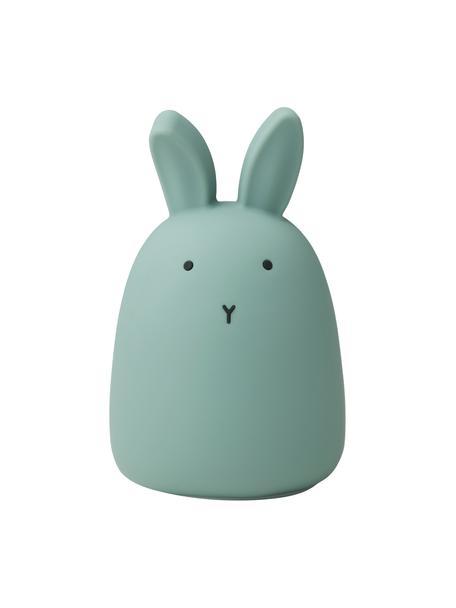 LED lichtobject Winston Rabbit, 100% siliconen, Groen, Ø 11 x H 14 cm